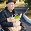 Smiling min wheelchair with his groceries — Stock Photo #34175635