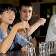 Woman drinking vodka shots — Stock Photo