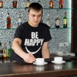 Barman preparing cups of fresh coffee at the bar — Stock Photo #36238391