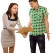 Womaccusing her boyfriend pointing to papers — Stock Photo #41871599