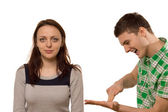 Enthusiastic young man explaining to his friend — Stock Photo