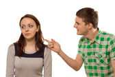Young man arguing with his girlfriend — Stock Photo