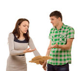 Young couple arguing over paperwork — Stock Photo