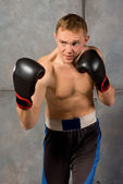 Handsome muscular young boxer — Stock Photo