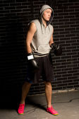 Tense young boxer waiting for his fight — Stockfoto