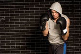 Young boxer training for a fight — Stock Photo
