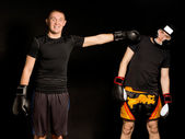 Two young boxers fooling around together — Stock Photo