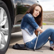 Woman driver waiting for a mechanic — Stock Photo #46244177