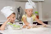 Cute Little Chefs Preparing for Pizza — Stock Photo