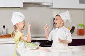 Very Happy Little Kids in Chefs Attire — Stock Photo