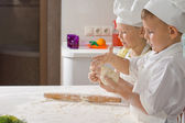 Two Very Young Chefs Preparing for Pizza — Stock Photo