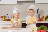 Two Cute Kids Showing Dough They Made — Stock Photo