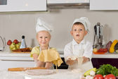 Adorable White Kids Making Foods for Snacks — Stock Photo
