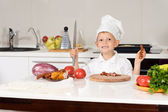 Happy Little Chef Chopping Ingredients — Stock Photo