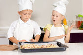 Little Cute Chefs Made Delicious Food — Stock Photo