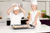 Two Cute Kids Made Appetizing Food — Stock Photo