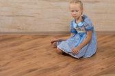 Serious Pretty Girl on Blue Dress — Stock Photo