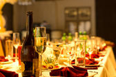 Champagne on a formal dinner table — Stock Photo