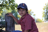The boy sits on a fence — Stock Photo