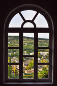 City Village are visible through the window — Stock Photo