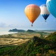 Hot air balloons floating up to the sky — Stock Photo