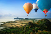 Hot air balloons floating up to the sky — Стоковое фото