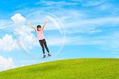 Little girl standing in bubble sphere — Stock Photo