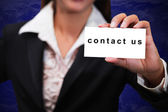 Contact us massage card — Stock Photo