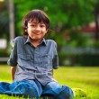 Young asian boy sits on the green grass — Stock Photo
