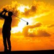 Stock Photo: Silhouette golfer