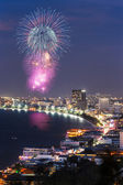 Night view and firework at Pattaya city — Stock Photo