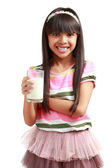 Little asian girl with a glass of milk — Stock Photo