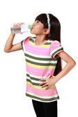 Little asian girl drinking water — Stock Photo