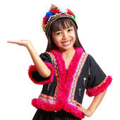 Smiling little asian girl with hill tribe dress — Foto Stock