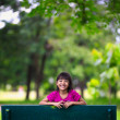 Smiling little asian girl sitting on the bench in park — Stock Photo