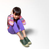 Little asian girl bored sounds annoying complaint — Stock Photo