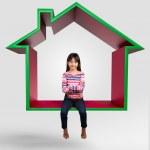 Little asian girl sitting on virtual home 3D — Stock Photo