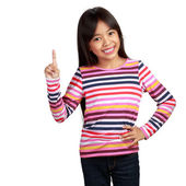 Little asian girl standing with index finger up — Foto de Stock