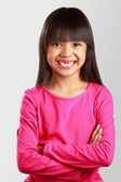 Closeup smiling little asian girl with broken teeth — Stock Photo