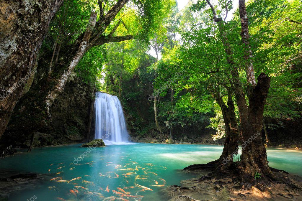 Фотообои Глубоко лесной водопад в Канчанабури, Таиланд