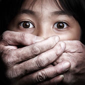 Scared little asian girl, Violence concept — Stock Photo