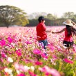 Happy children fun at cosmos flowers field — Stock Photo