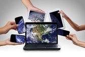 Computer laptop smart phone tablet and touch pad connecting conc — Stock Photo