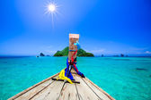 Boat in andaman sea in summer vacation — Stock Photo