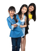 Three little asian girl standing — Foto Stock