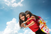 Happy asian mother and daughter — Stock Photo