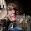 Stock Photo: Female scientist funny