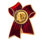 Object on white - Soviet badge with lenin — Stock Photo