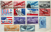 Old American stamps on album page — Stock Photo