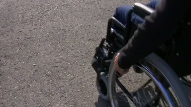 Man in a wheelchair — Stock Video